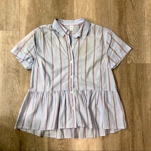 Old mavy Peplum button Front Top